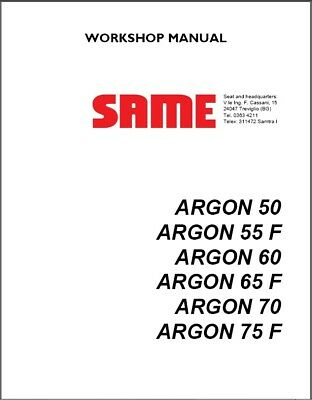 Same Argon 50 55 F 60 65 F 70 75 F Tractor Service Workshop Manual Cd