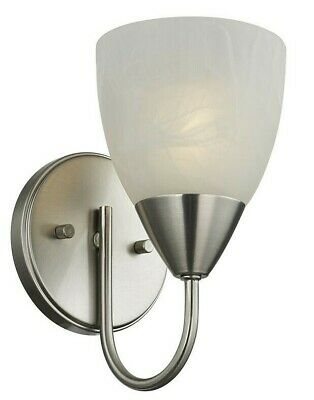 Satin Nickel Simple 1-Light Wall Sconce Bathroom Vanity Alabaster Swirl Glas New