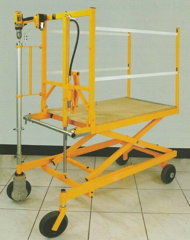 Drill-Driven Elevated Scaffolding Work Bench Platform