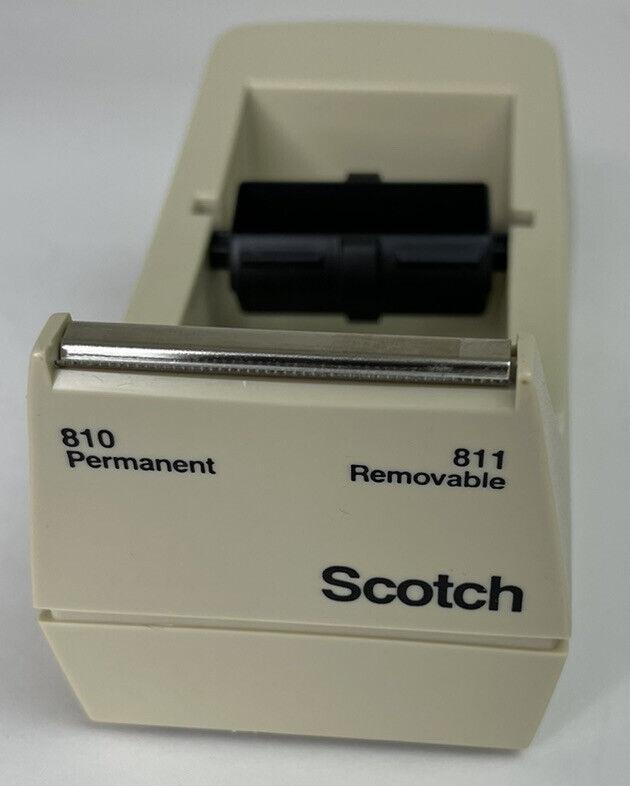 Vintage Beige Scotch Double Roll Desk Tape Dispenser 3M Weighted Base  C-39