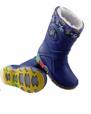 Kids Light Up Wellington Boots Blue Removable Lining  Size 8/9 Infant
