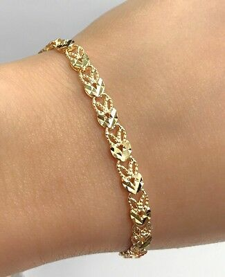18k Solid Yellow Gold Cute Diamond Cut Bracelet, 6.5 Inches, 6.50 grams