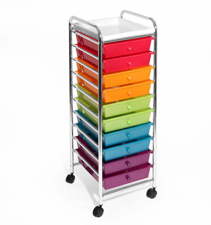Seville Classics 10-Drawer Organizer Cart, Multicolor (Pearlized) Home & Garden