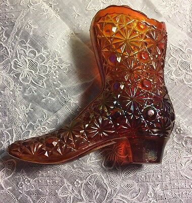 Vintage 4  Fenton Daisy   Buttons Carnival Art Glass Boot Shoe