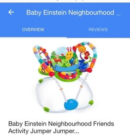 One month used Baby Einstein jumper. Absolutely new with box.