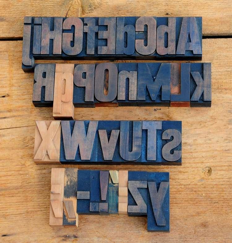 A-Z mix Alphabet 54/72 mm Holzbuchstaben Lettern Druck Holzlettern Buchdruck