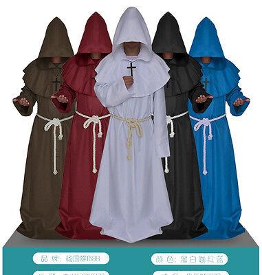Men Church High Priest Monk Druid Halloween Party Robe Dress Cloak Costume Soild (Druid Halloween Costume)