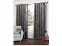 "Silver crushed velvet curtains brand new 90"" 90"