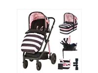 Priced to sell pram with carry cot seat unit car seat isofix base and bag