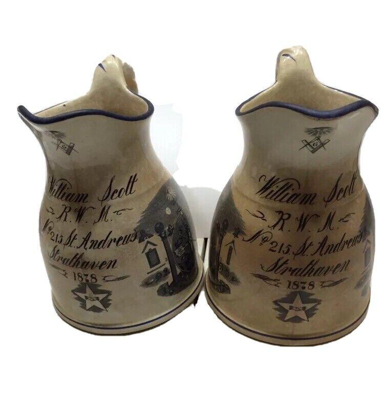 Antique Vintage 1878 Pair Masonic Symbols Ironstone Pitchers Pottery Old