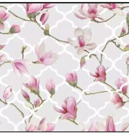 2 ROLLS X Arthouse Magnolia Trellis Grey & Pink Floral flower Wallpaper 908000