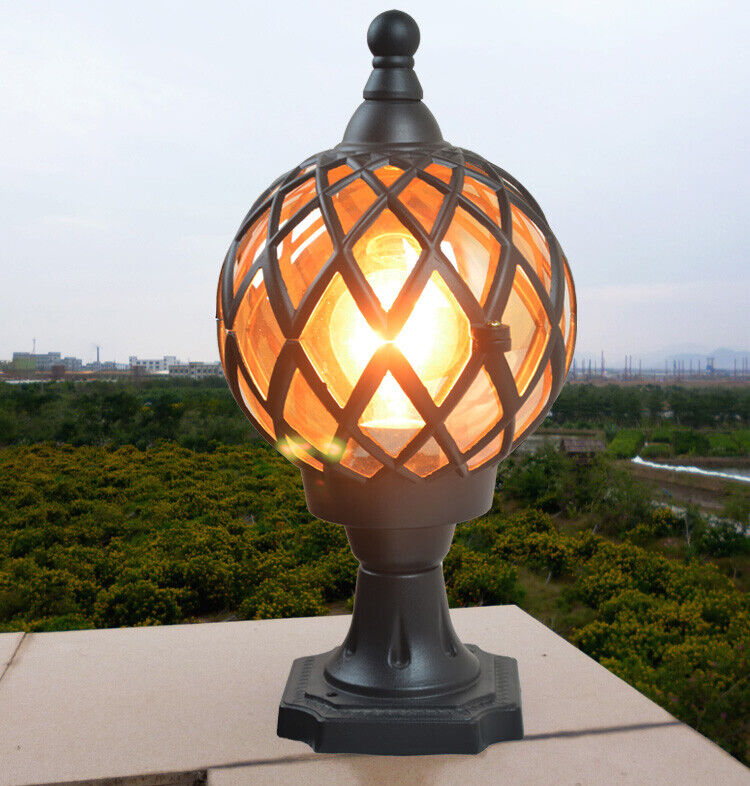 Vintage Tea Glass Globe Outdoor, Globe Outdoor Light Post