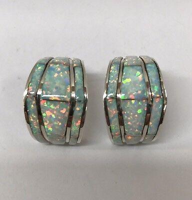 Native American Sterling Silver Zuni White Opal Inlay Earrings