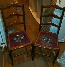 Two Dining Chairs with Embroidered Flower Seats for up -cycling - Exeter