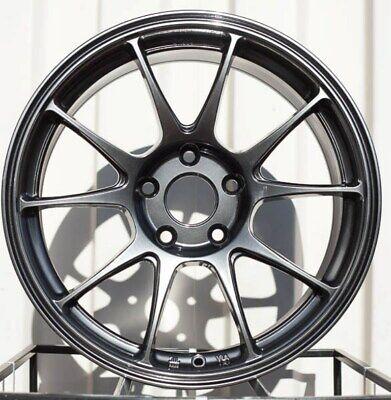 18x8.5 Rota Titan F 5x114.3 44 Hyper Black Wheels Rims Set(4)