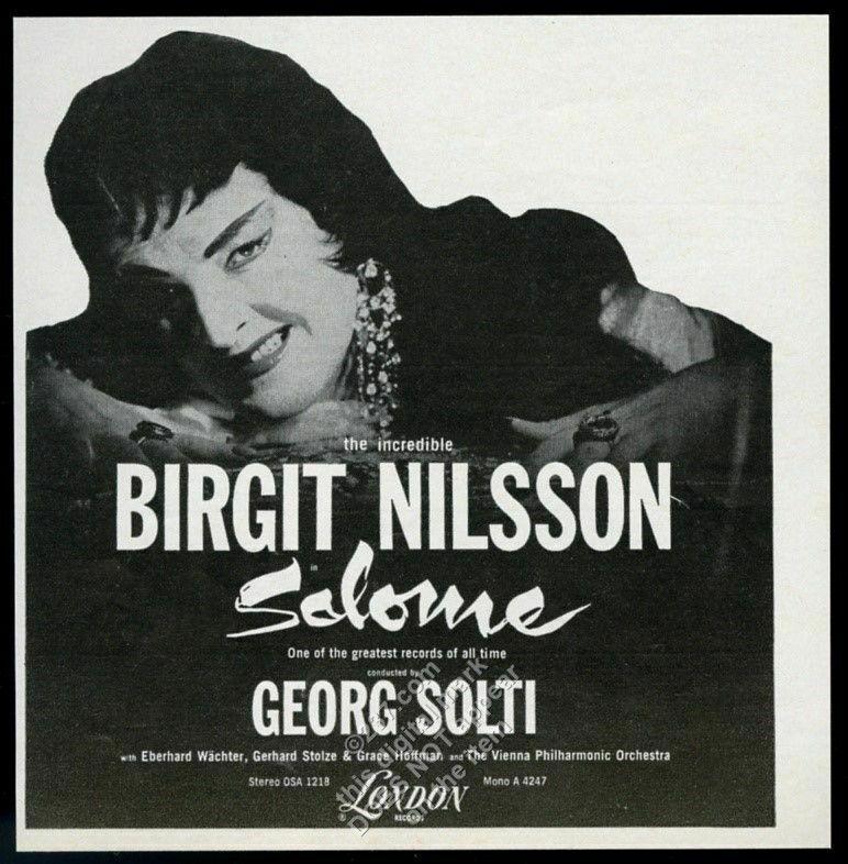 1962 Birgit Nilsson photo as Salome London Records vintage print ad