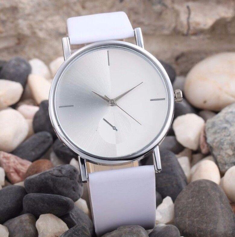 $13.60 - Sale Hot Geneva Luxury White Leather Stainless Women Quartz Dress Fashion Watch