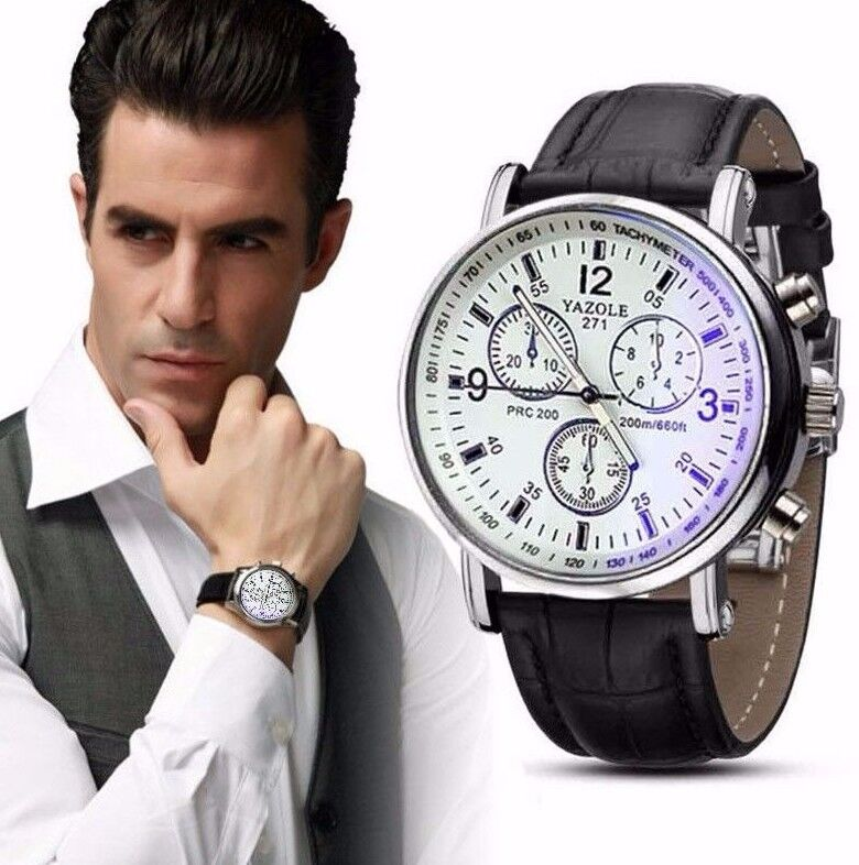 Hot Luxury White Black Leather Stainless Steel Dress Fashion Men Quartz Watch