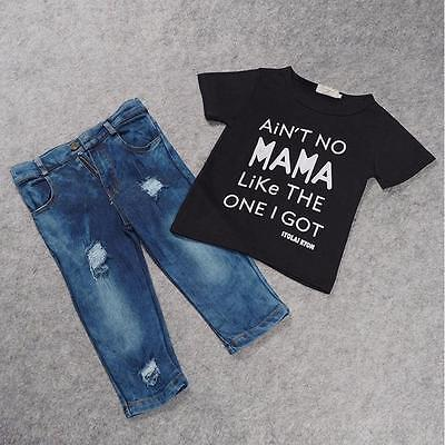 2017 Toddler Kid Infant Baby Boy Clothes T-shirt Top+Denim Pant Outfit Set New