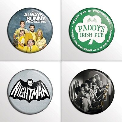 "4-Piece It's Always Sunny in Philadelphia 1""  Pinback Buttons / Pins / Badge Set"