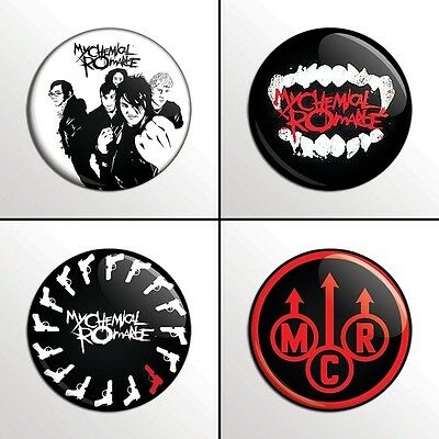 "4-Piece MCR MY CHEMICAL ROMANCE 1"" Pinback Band Buttons / Pins / Badges Set"