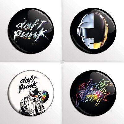 "4-Piece DAFT PUNK 1"" Band Pinback Buttons / Pins / Badge Set"