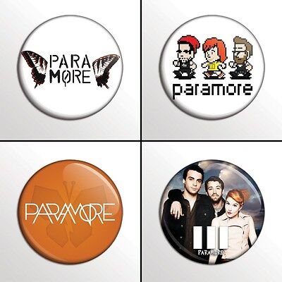 "4-Piece PARAMORE  1"" Pinback Band Buttons / Pins / Badges Set"