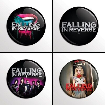 """4-Piece Falling in Reverse 1"""" Band Pinback Buttons / Pins / Badges Set"""