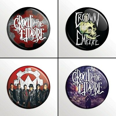 """4-Piece CROWN THE EMPIRE 1"""" Pinback Band Buttons / Pins / Badges Set"""