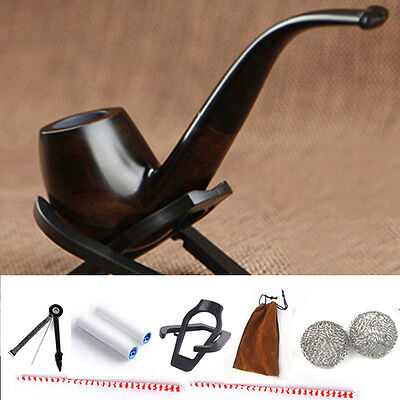 Ebony Wooden Pipe Tobacco Cigarettes Cigars Filter Pipes Durable Smoking Pipe