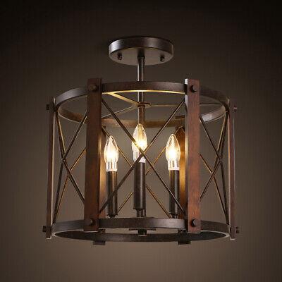 Semi Flush Lantern - Industrial Semi Flush Mount Ceiling Light 3-Light Lantern Metal&Wood Frame Rust