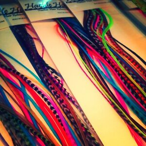 Lot of 60 Real Feather Hair Salon Extensions XL Grizzly Long Skinny Saddle