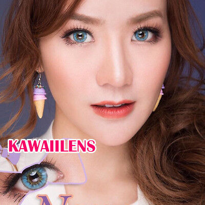 Contact Lenses Color Soft Cosmetic Big Eye Cosplay Lens UV Protection Nana Blue (Blue Color Contact Lens)