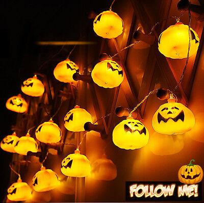 Pumpkin 16 LED String Lights Halloween Home Decoration Party Indoor Light 9 ft