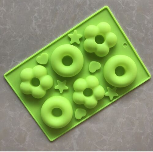 6 Flower Donuts Silicone Molds Craft DIY Soap Ice Cake Baking Chocolate Mold