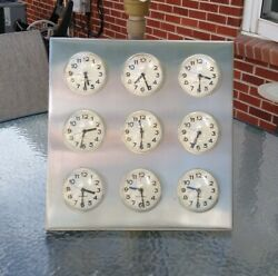 BUBBLE WORLD TIME CLOCK 9 INTERNATIONAL CITY TIME ZONES STAINLESS STEEL KARLSSON