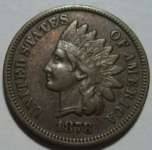 = 1878 VF/XF INDIAN Cent, Nice Details & EYE Appeal, FREE Shipping