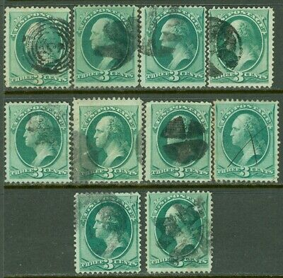 EDW1949SELL : USA 1870 Scott #136. 10 stamps. Used. All Fresh & Sound. Cat $325.