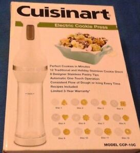 New,Cuisinart Electric Cookie Press 12 Discs & 8 Decorating Tips