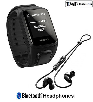 TomTom Spark Cardio + Music + Bluetooth Headphones GPS Fitness Watch Black Small