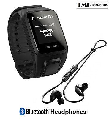 TomTom Spark Cardio + Music + Bluetooth Headphones GPS Fitness Watch Black Small