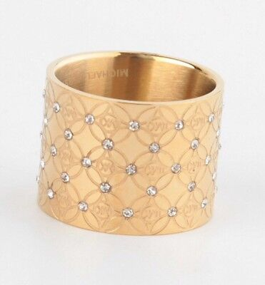 AUTHENTIC MICHAEL KORS Heritage Monogram Gold Tone Logo Barrel Ring Size 7-NEW!