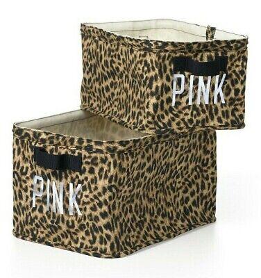 Victoria's Secret PINK Leopard Print Storage Bin Container Set of 2 Rare New (Pink Storage Bin)