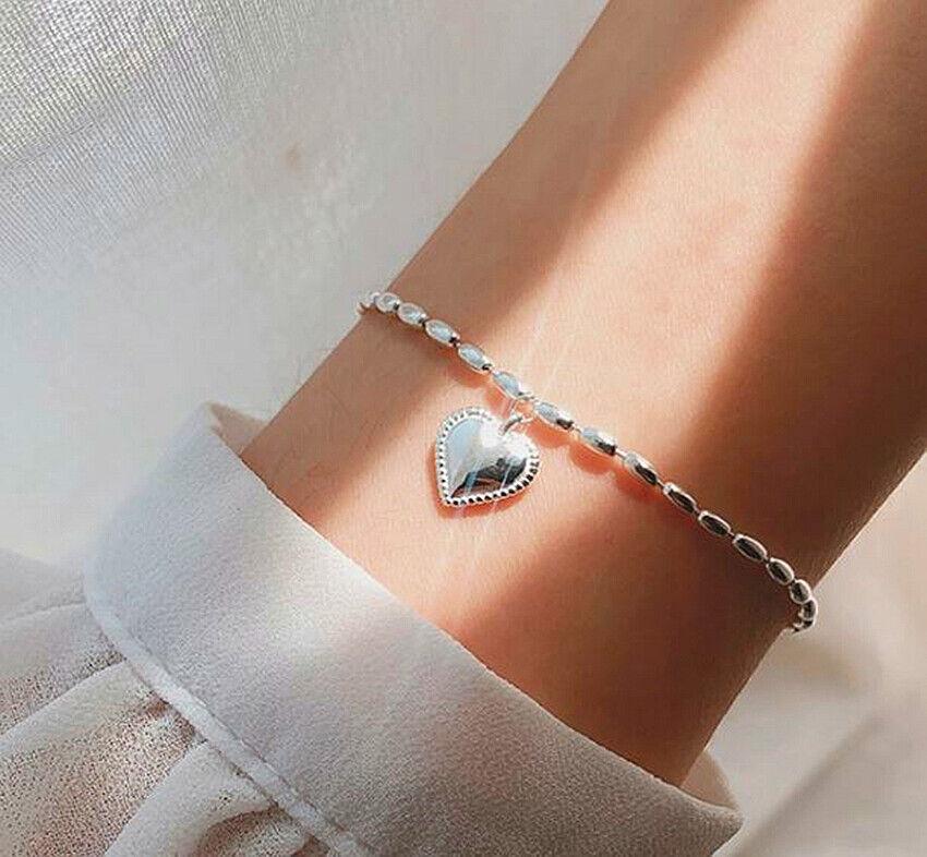 Jewellery - 925 Sterling Silver Heart Bead Linked Charm Bracelet Womens Girls Jewellery Gift