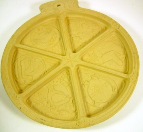 "Christmas 10"" Mold Sassafras Superstone Shortbread Wedges Cookie Holiday"