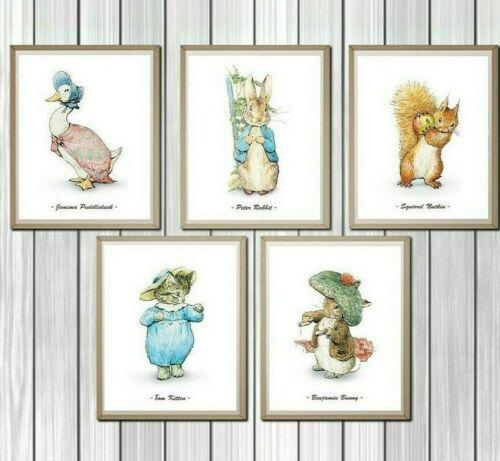 Peter Rabbit Nursery Prints, Set of 5, Beatrix Potter Decor, Nursery Art