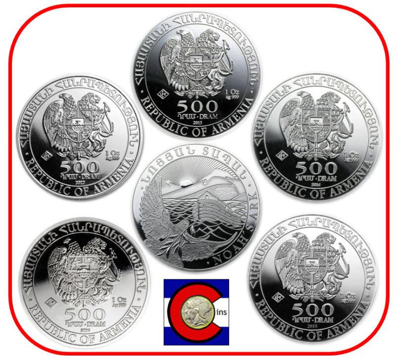 2012 2013 2014 2015 2016 Armenia Noah's Ark 1oz Silver 500 Drams Coins airtites