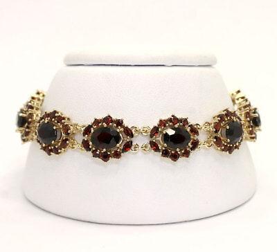 Garnet Edwardian style bracelet 14K YG oval marquise round brilliant 13.75C 23+G