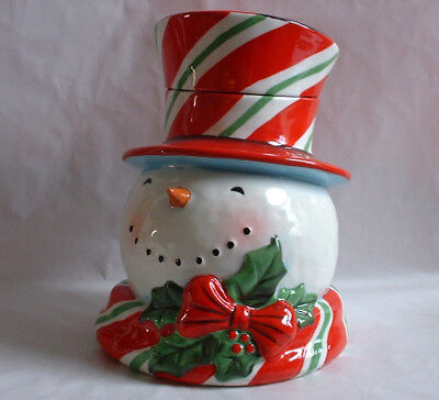 Certified International Geoffrey Allen SNOWMAN COOKIE JAR pottery Christmas xmas