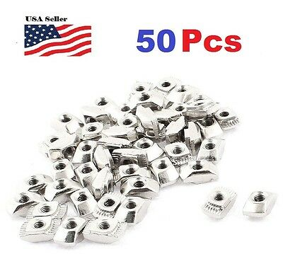 50pCS M3 Female Thread T Slot Hammer Head Drop in Nut 50pcs Silver Tone